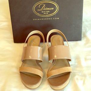 Delman Sandal in Tan Patent and Nubuck Size 8
